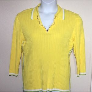 ESCADA Yellow Wavy Knit Polo White and Green Trim